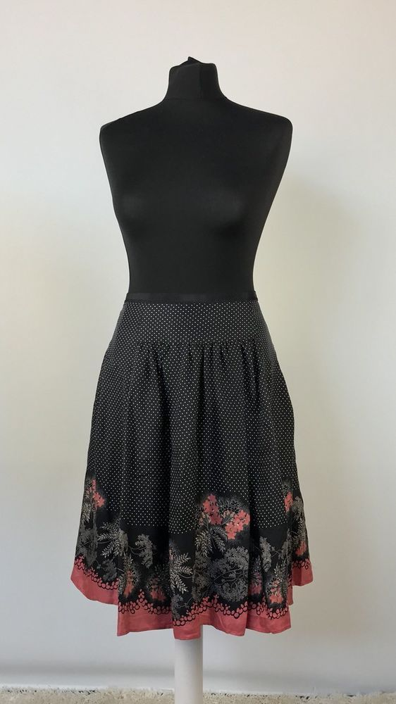 60caae8f22ff TED BAKER Size 3 UK 12 Black Mix Pure Silk A line Polka Dot   floral ...