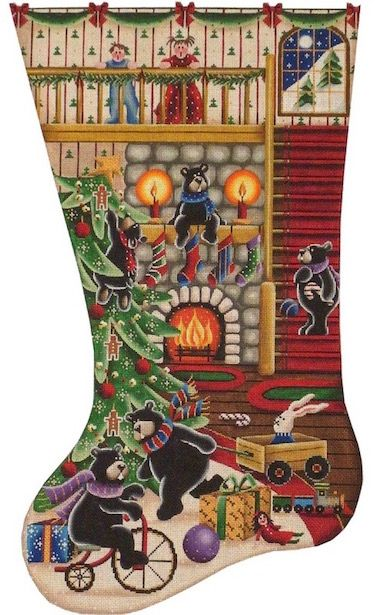 Christmas Surprise (1319A) is a Christmas needlepoint stocking canvas design by Rebecca Wood available at the Needle Nook of La Jolla.