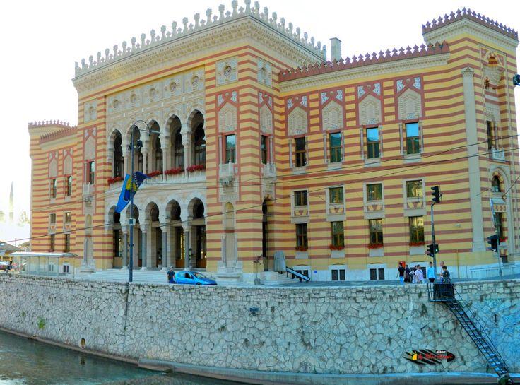 City Hall (Vijecnica), Sarajevo, Bosnia and Herzegovina, Nikon Coolpix L310, 8.4mm, 1/400s, ISO 100, f/3.6, panorama mode: segment 4, HDR-Art photography, 201607101816