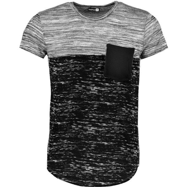 Boohoo Space Panel Pocket T Shirt | Boohoo (£11) ❤ liked on Polyvore featuring men's fashion, men's clothing, men's shirts, men's t-shirts, shirts, male clothes, men, tops, mens cotton t shirts and mens cotton shirts