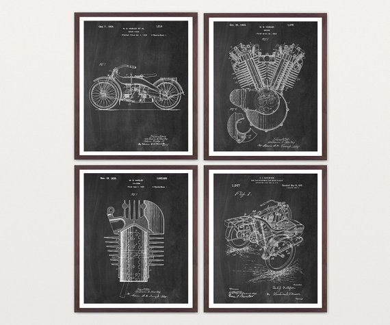 Harley Davidson Poster - Four Patent Prints  by WunderKammerEditions