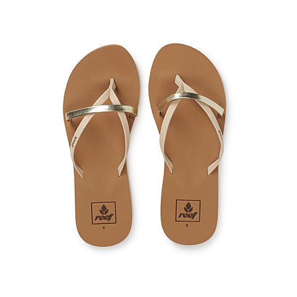 Reef Gold accent flip-flops ($28) ❤ liked on Polyvore featuring shoes, sandals, flip flops, metallic flip flops, rubber flip flops, rubber shoes, metallic shoes and metallic sandals