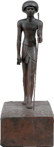 Copper alloy funerary-votive figurine of Hepu. Crafted by his brother Tchenena the goldsmith. New Kingdom, early 18th Dynasty, 1550-1479 BC.