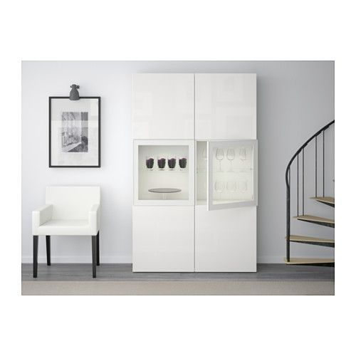 best storage combination w glass doors white selsviken high gloss white frosted glass. Black Bedroom Furniture Sets. Home Design Ideas