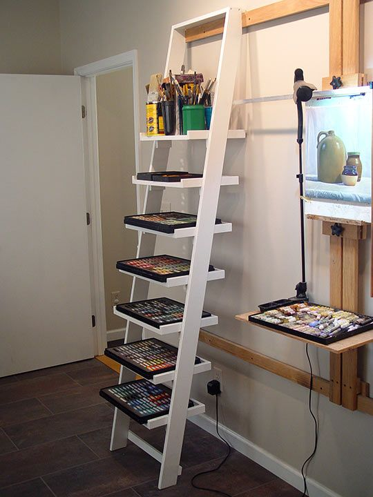 DIY Wall-Mounted Easel and Ladder-Shelf System