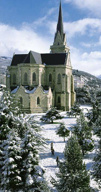 The Cathedral of San Carlos de Bariloche. Built in Argentina,1942 with a style that is reminiscent of French Gothic architecture.