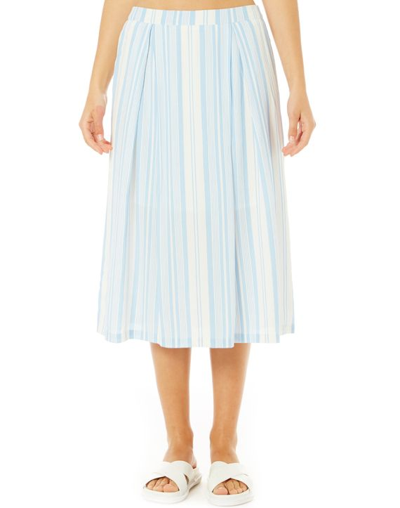 Stripe Pleat Long Skirt