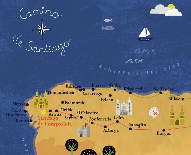 camino_de_santiago2_biancatschaikner-02.png. Lovely illustrated map of the Camino de Santiago.