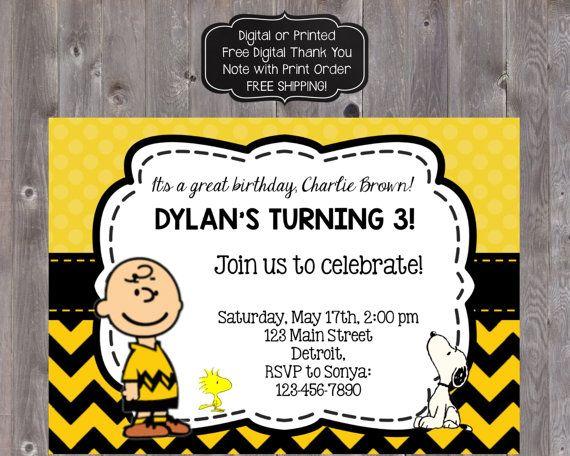 Charlie Brown Birthday Invitation Charlie Brown by PartyOnInvites