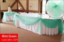 Promotion  mint green 10M*1.35M Sheer Organza Swag  Fabric wedding decoration ,Organza  Fabric  table curtain, HQ ,free shipping(China (Mainland))