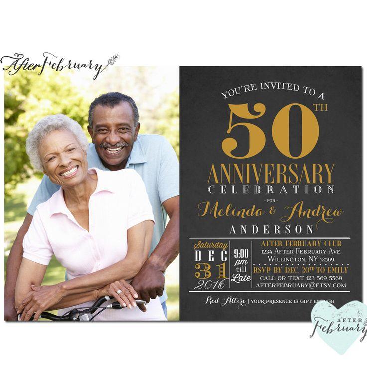 sapphire wedding anniversary invitations%0A ANY YEARS    th Anniversary Invitation Photo Anniversary Invite Black and  Gold Golden   th Wedding Anniversary Invite    No
