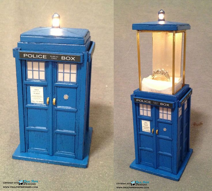 This Tardis ring box sets the new standard for Romantic Awesome.