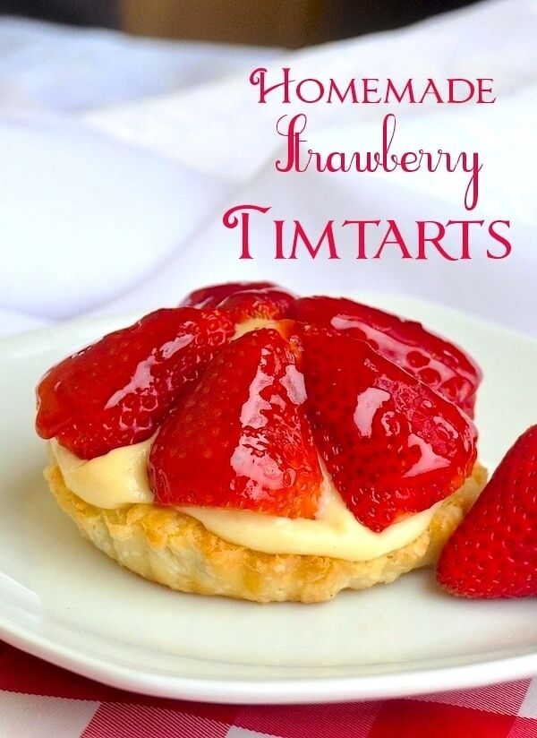 Strawberry Custard Tarts aka Tim Tarts! - Inspired by the famous Tim Horton's Strawberry Tim Tarts from decades ago, these dessert tarts are sure to hit a nostalgic note; ideal for for Canada Day.