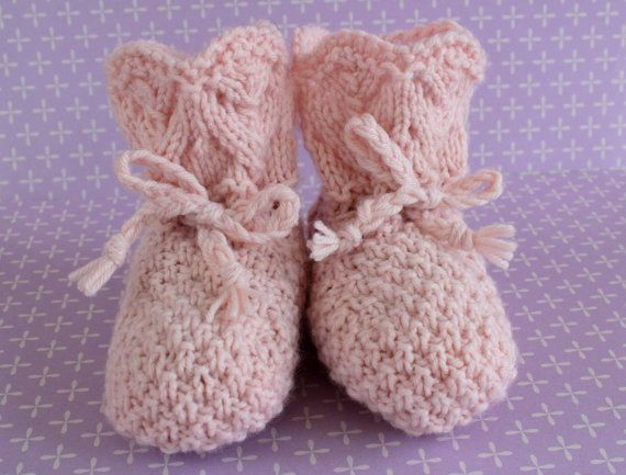 Pale Pink Booties Vintage Booties Pink Crib by Pinknitting on Etsy