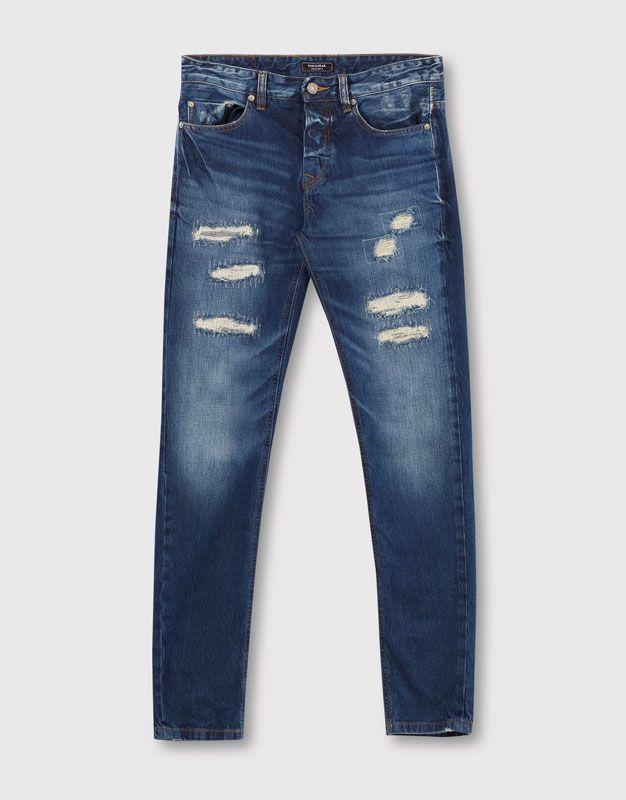 Pull&Bear - homem - vestuário - jeans - calças de ganga skinny fit - índigo - 05684543-I2016