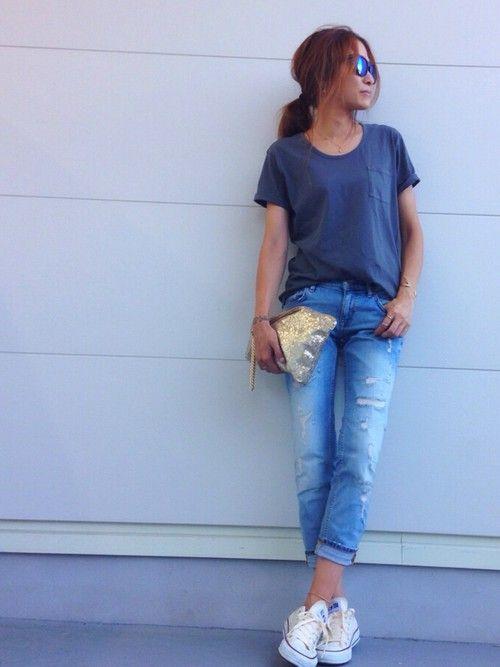 GUのTシャツ・カットソーを使ったkayoのコーディネートです。WEARはモデル・俳優・ショップスタッフなどの着こなしをチェックできるファッションコーディネートサイトです。
