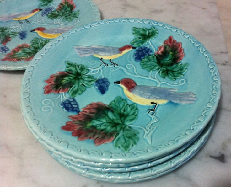 Lovely turquoise bird plates