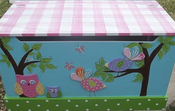 Toy Chest Bench Toy Box OWLS and BIRDS Hope Chest by spoiltrottn, $239.00