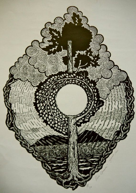 This original hand printed #woodcut #print by djuwadi explores the cycle of nature. A great christmas #gift for an #art or #nature lover. $75 available on Etsy. www.djuwadiprints.tumblr.com