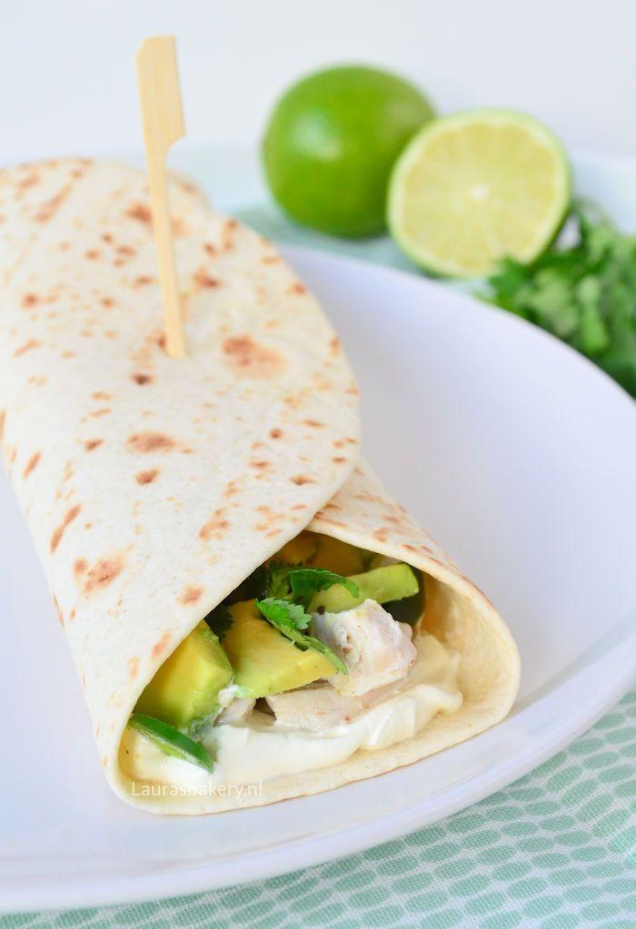Tortilla's met limoen kip en avocado - Laura's Bakery