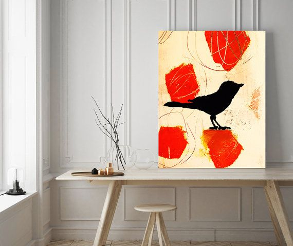 modern office art. bird art abstract nature modern home decor office
