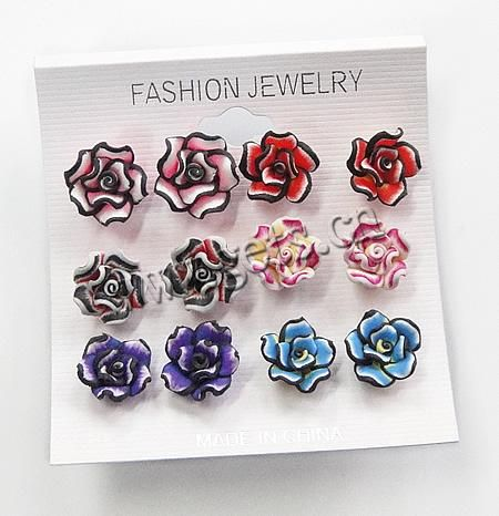 Polymer Clay Stud Earring,  jewelry  http://www.gets.com/product/Fimo%28Polymer-Clay%29-Earring--Iron-earstud--with-flower-fimo-head--Flower--16x12mm_p417890.html