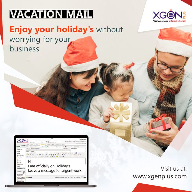 Are you going on holiday's ? Don't forget to set your vacation email, Schedule an reply so you don't have to worry about emails going unanswered while you are away. Visit us for free trial: http://bit.ly/2zBfS5R  #xgenplus #enterpriseemail #emailsolution #vacationemail