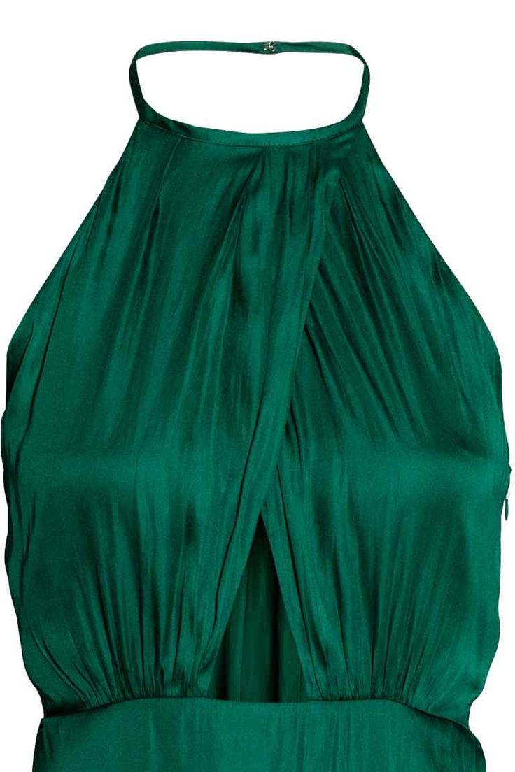 Átlapolt ruha - Smaragdzöld - NŐI | H&M HU