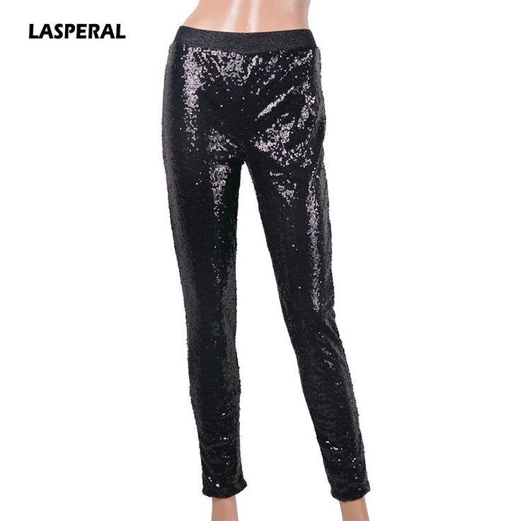 LASPERAL 2017 Plus Size Women Sequined Leggings Sexy Slim Bling Shining Leggins Spangle Silver Gold Black Skinny Pantalones