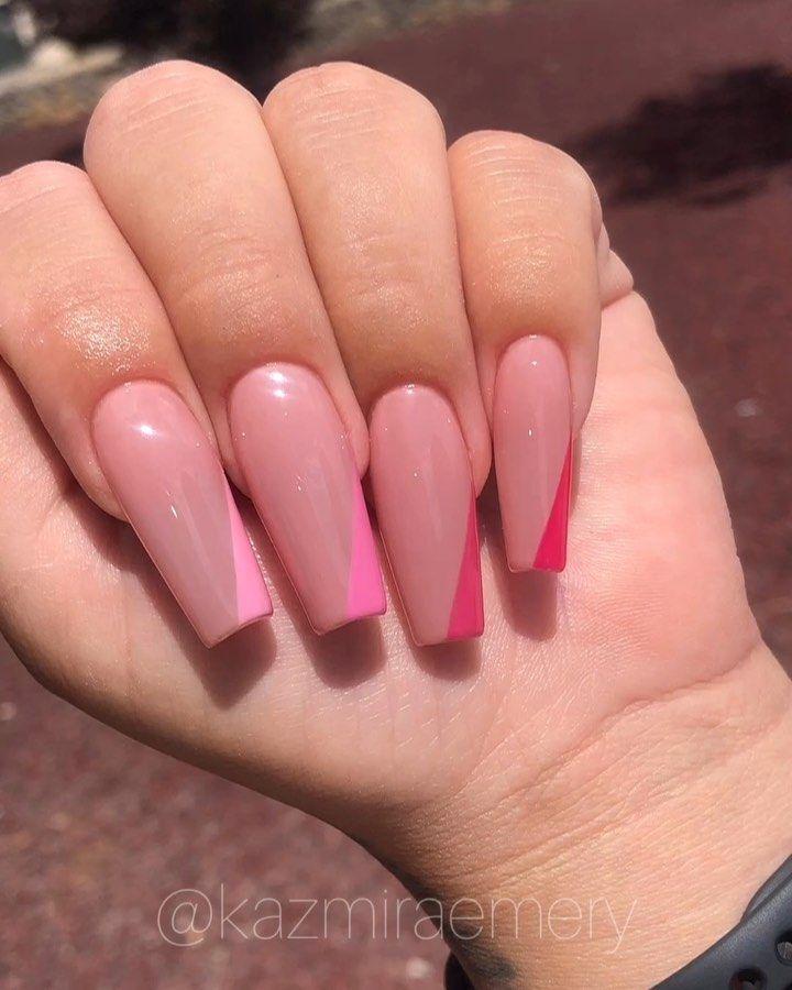 """ηαιℓ αятιsт on Instagram: """"Some more side tip ombré nails 💅🏼💗 Swipe to see the foundation ✨ • • • • • • #kazmiraemery #elpasonails #licensednailtech #nails…"""""""