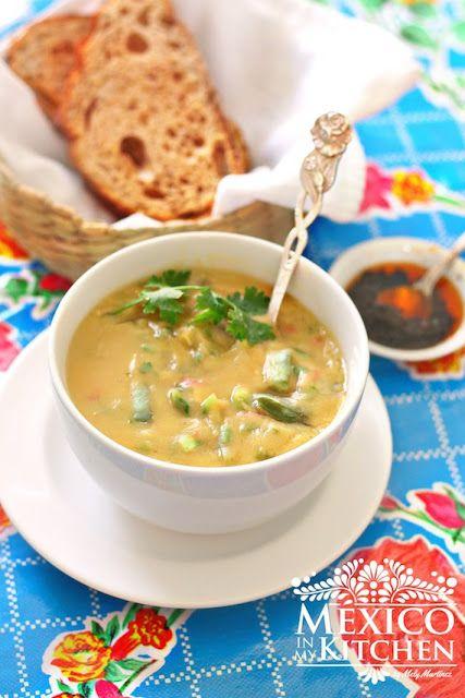 Creamy Fava bean soup with Nopales, Mexican vegetarian-vegan soup.