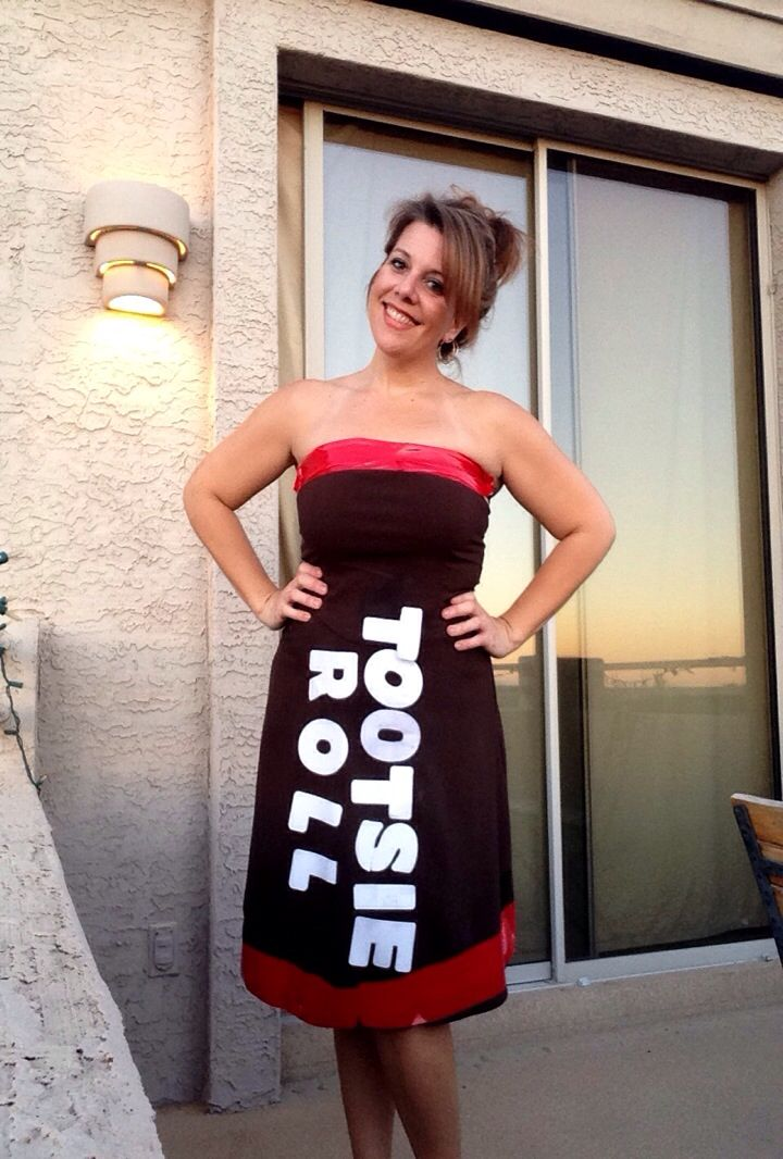 DIY 5 minute HALLOWEEN COSTUME Tootsie Roll Brown Dress - Goodwill Red Duct Tape 4 inch White Sticker Letters - Cooper Type