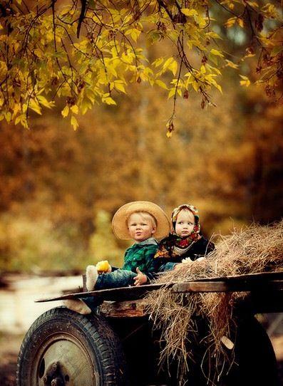 Kids on a Fall Hayride.