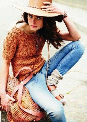 michael kors sandalsHats, Autumn Fashion, Style, Vogue Paris, Burnt Orange, Chunky Sweaters, Jeans, Socks, Cable Knits Sweaters