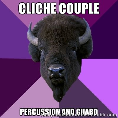 color guard memes | Cliche couple...percussion and guard | Marching Band, Majorettes, a...
