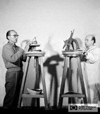 Henryk Jędrasiak i Lubomir Tomaszewski przy pracy, ok. 1958