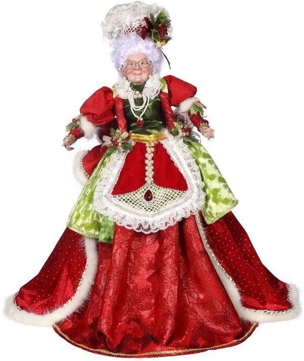 """Mrs. Claus can't wait to make Christmas cookies! A finely crafted Mrs. Claus from her Christmas bonnet to her lavishly embellished apron. - Limited edition Mrs. Claus designed by Mark Roberts. - 24"""" t"""
