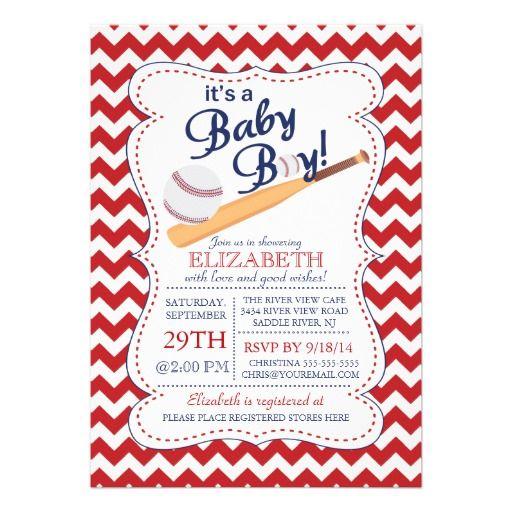 It's a Baby Boy Baseball Baby Shower Custom Announcement