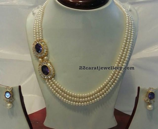 Pearls Set with Blue Sapphire Stones - Jewellery Designs