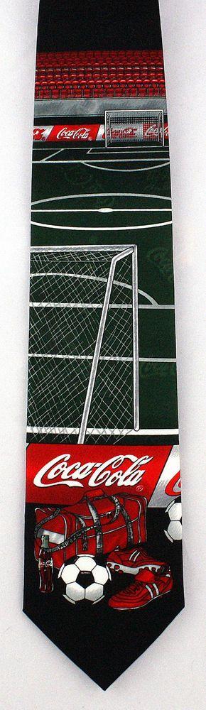 New Coca Cola Soccer Mens Necktie Coke Logo Soda World Cup Football Neck Tie #CocaCola #NeckTie