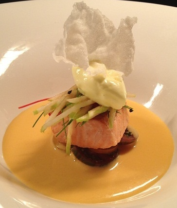 Coconut grilled ocean trout with asian gazpacho at Ezard