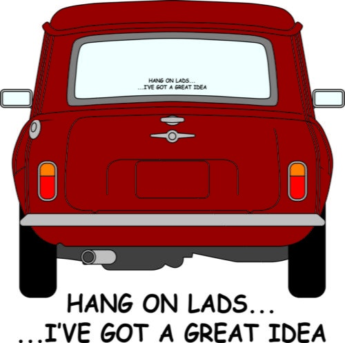 Italian job mini car decal bumper sticker funny