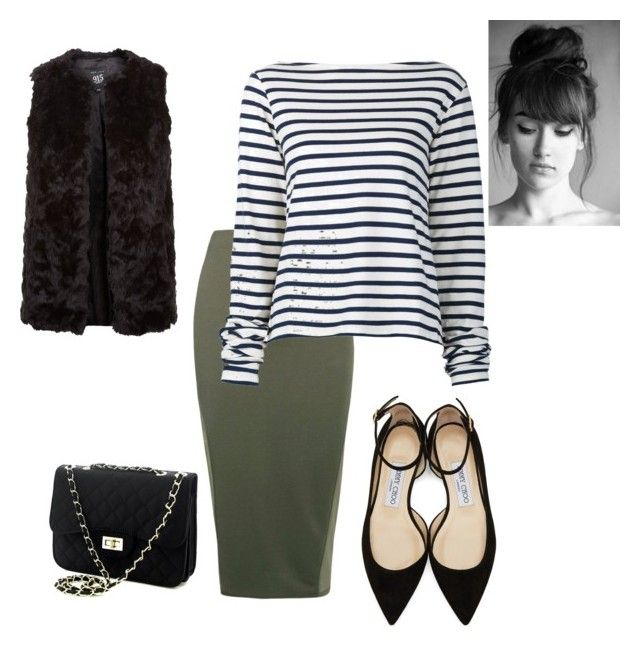 Fur .. pencil ... stripes by raemarie19 on Polyvore featuring polyvore fashion style Jacquemus New Look Boohoo Jimmy Choo clothing