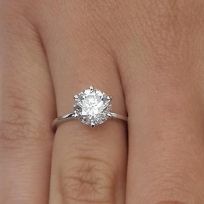 2 Round Cut Diamond Solitaire Engagement Ring Enhanced Si1 D 18k White Gold