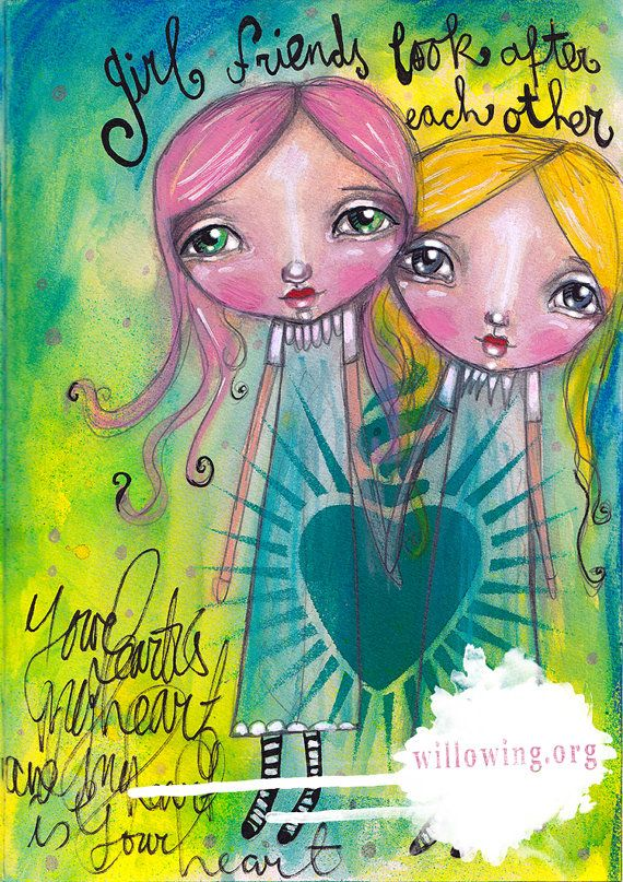 Girlfriends Look After Each Other  Art Print by willowing on Etsy, £12.00