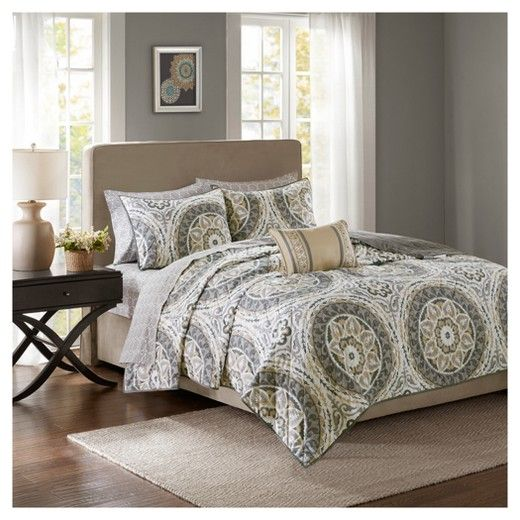 For a modern update to your space, the Nepal Complete Coverlet and Sheet Set can provide a whole new look with warm colors. An intricate medallion pattern repeats across the top of bed with beautiful shades playing up this oversized print. An oblong pillow uses decorative embroidery and piecing to create texture on the top of bed while 180 thread count cotton sheets feature a medallion print to complete this look.