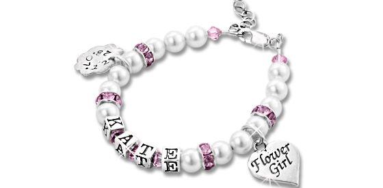 Flower Girl Personalised Name Bracelet. Find it at www.giftedmemoriesjewellery.com.au