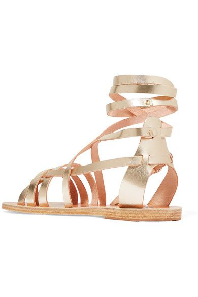 Ancient Greek Sandals - Satira Metallic Leather Sandals - Gold
