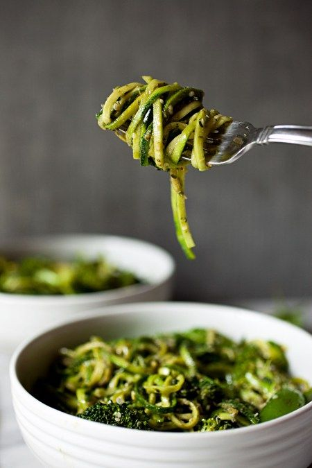 The Ultimate Green Vegan Veggie Bowl (with zucchini noodles, broccoli, snap peas, and pesto)