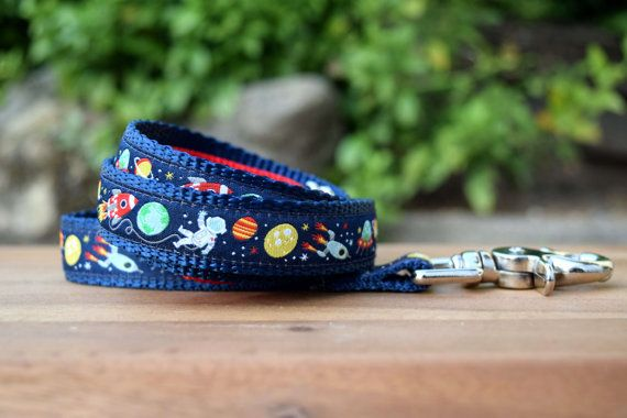Space dog leash / Aliens dog lead / Fun Lead by DelaheyandCo